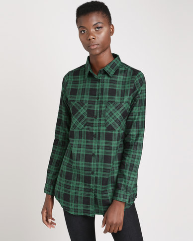 Brave Soul Printed Check Shirt With Two Pockets Pine Green/Black