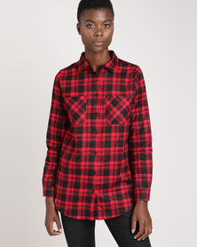 Brave Soul Printed Check Shirt With Two Pockets Red/Black