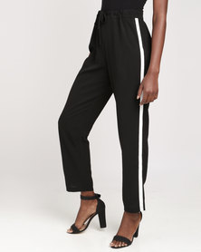 Brave Soul Woven Trousers With White Band Black/White