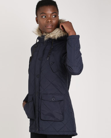 Brave Soul Fishtail Parka With Diamond Quilting And Fur Trim Navy