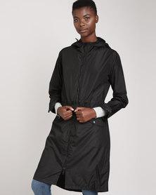 Brave Soul Shower Resistant Long Line Jacket Black