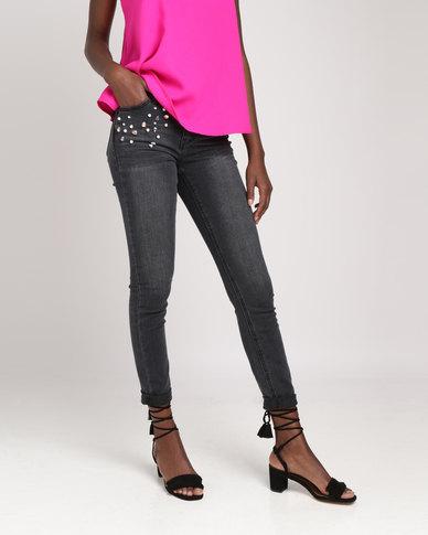 Pearl & Jewel Embellished Skinny Jeans Black