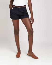 Legit Belted Mid-thigh Turn Up Hem Shorts Navy