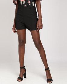 Legit Woven Shorts With PU Belt Black