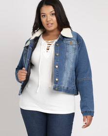 Brave Soul Mid Wash Padded Denim Jacket With Quilted Lining