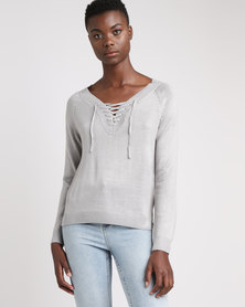 Brave Soul V Neck Jumper With Neck Tie Crystal Grey