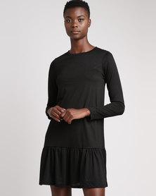 Brave Soul Long Sleeve Dress With Peplum Hem Black