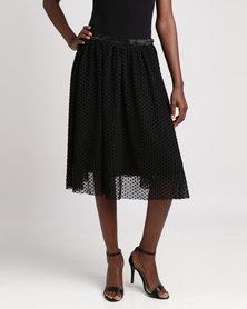 Brave Soul Spotted Mesh Skirt Black