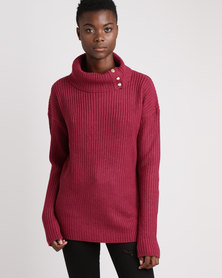 Brave Soul Roll Neck Loose Fit Jumper Deep Berry