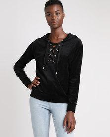 Brave Soul Velour Tie Up Front Sweat Shirt Black