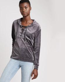 Brave Soul Velour Tie Up Front Sweat Shirt Charcoal