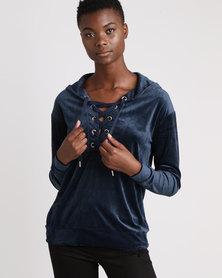 Brave Soul Velour Tie Up Front Sweat Shirt Sapphire