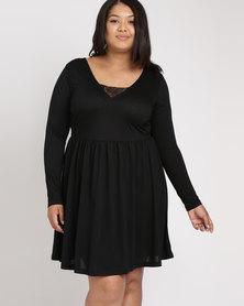 Brave Soul Plus Long Sleeve Dress Wth Lace Band Black