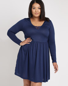 Brave Soul Plus Long Sleeve Dress Wth Lace Band Midnight Blue