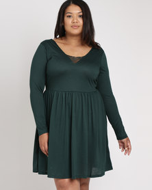 Brave Soul Plus Long Sleeve Dress Wth Lace Band Forest Green