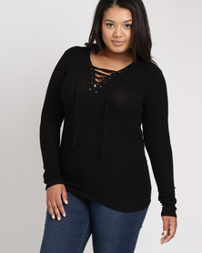 Brave Soul Long Sleeve Top With Tie Up Black