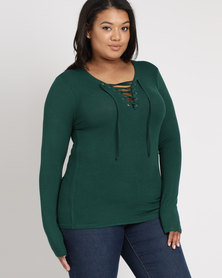 Brave Soul Long Sleeve Top With Tie Up Pine Green