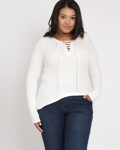 Brave Soul Long Sleeve Top With Tie Up Cream