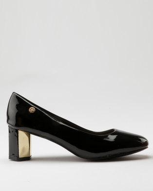 33e19e669727 Pierre Cardin Patent Metallic Heel Court Black