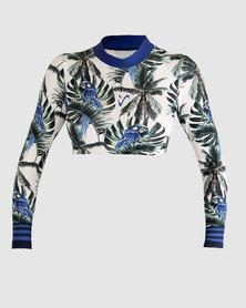 Vivolicious Tropics UV Cropsy Long Sleeve Bikini/Bra Croptop Blue White