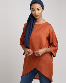 Frilly Lilly Cross Over Tunic Rust