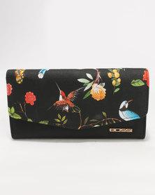 Bossi Floral Print Wallet PU Black