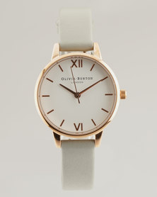 Olivia Burton White Dial Watch Grey/ Rose Gold-tone