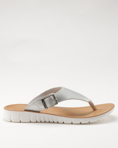 Angelsoft Angelsoft Ladies Leather Slip On Sandals Silver clearance collections order cheap online clearance outlet locations cheap sale nicekicks cheap sale fast delivery vfUaMRY