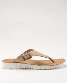 Angelsoft Ladies Leather Slip On Sandal Nude