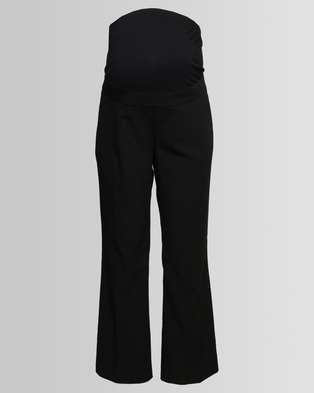 1dbfe42145672 New Look Maternity Over Bump Wide Leg Trousers Black