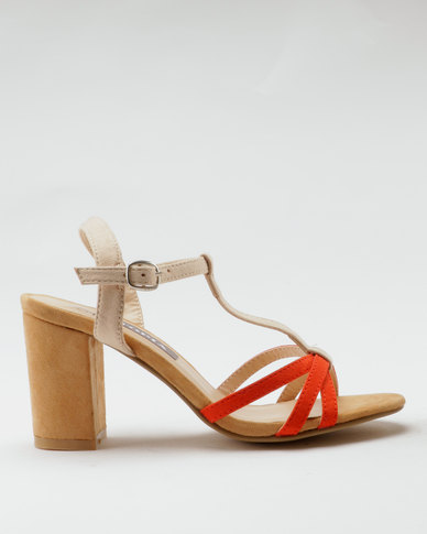 Utopia Colour Block Heel Sandals Orange