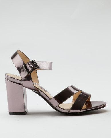 Utopia Metallic Block Heel Sandals Gun Metal