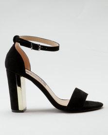 Utopia Metal Block Heel Vamp Sandals Black