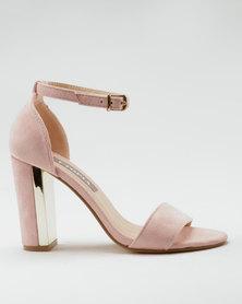 Utopia Metal Block Heel Vamp Sandals Pink