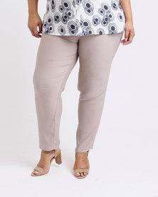 Queenspark Plus Soft Crepe Woven Pants Taupe