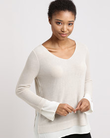 Miss Cassidy By Queenspark Shimmer Combo Knit Top Stone