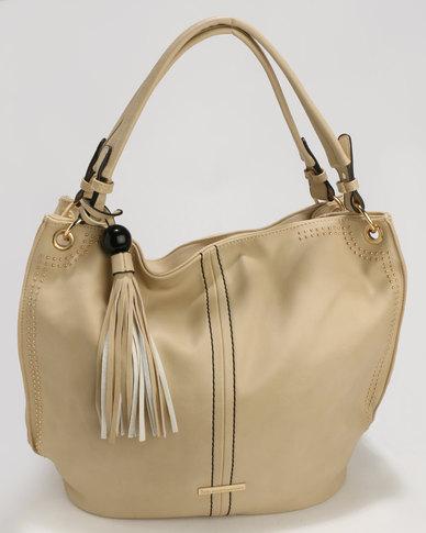 Blackcherry Bag Hobo Handbag With Tassel Detail Beige