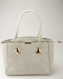 Blackcherry Bag Smart Tote Handbag With Metal Detail Off-White