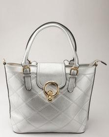 Blackcherry Bag Quilted Smart Tote Handbag Silver