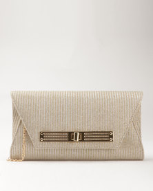 Blackcherry Bag Metallic Clutch Gold-Tone