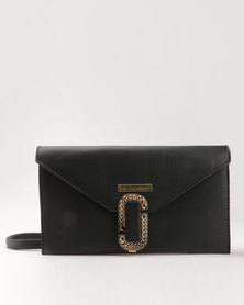 Blackcherry Bag Fold Over Clutch Handbag Black