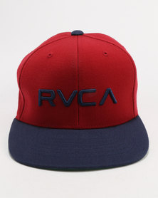 RVCA Boys Twill Snapback Cap Red