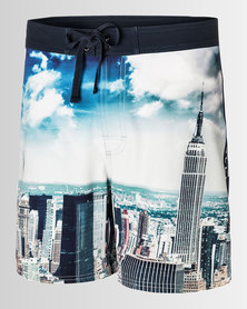 Pullin Tzar Leap Shorts Printed Skyline