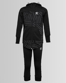 adidas Long Graphic Heather Fleece Tracksuit Black