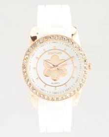 Digitime Floral Watch White