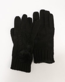 New Look Cable Faux Fur Pom Gloves Black
