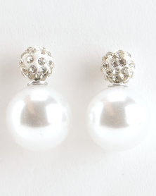 Jewels and Lace Rhinestone Illusion Earrings Ivory