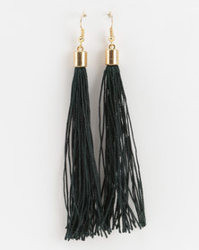 Jewels and Lace Tassel Earrings Green
