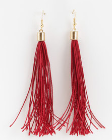 Jewels and Lace Tassel Earrings Burgundy