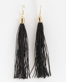 Jewels and Lace Tassel Earrings Black